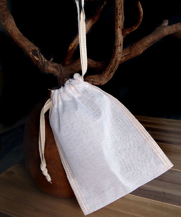 "Cheesecloth Bags with Drawstring 4"" x 6"" (12 Pk) Ivory Edge"